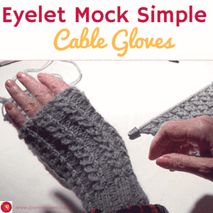 Eyelet Mock Simple Cable Gloves