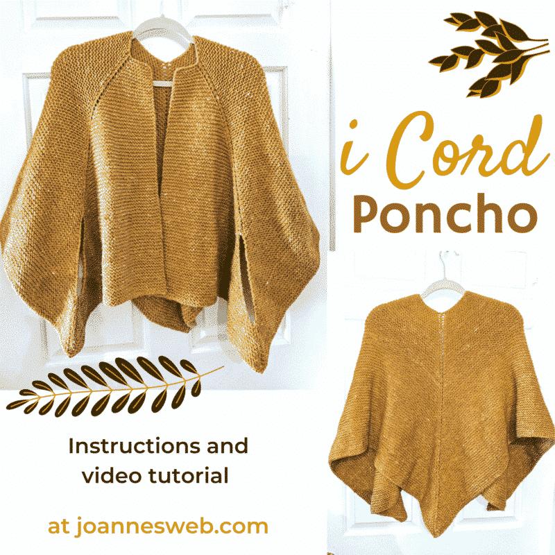 i cord poncho pattern instructions knitting