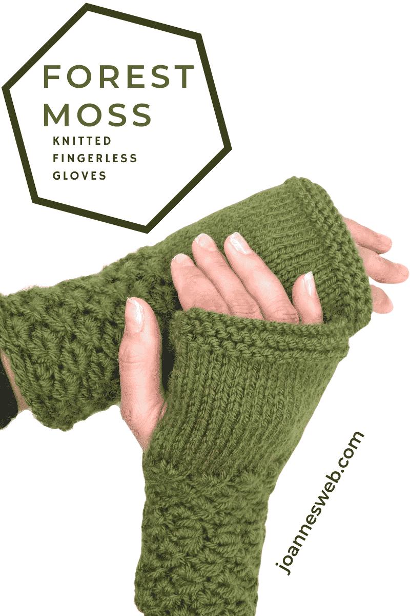 Forest Moss Knitted Fingerless Gloves