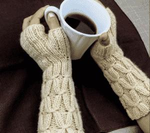 Vanilla Smocking Fingerless Gloves