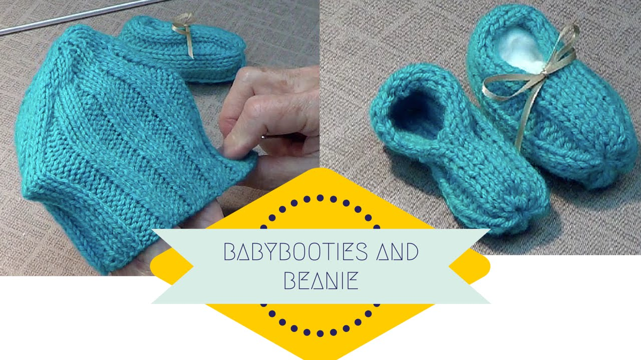Knitted Baby Bootie and Beanie Set Free Pattern