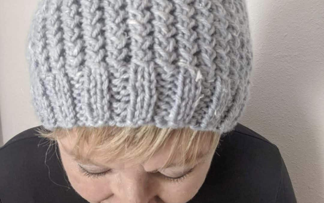 Crossed-Over Ribbing Beanie Hat Knitting Pattern and Instructions