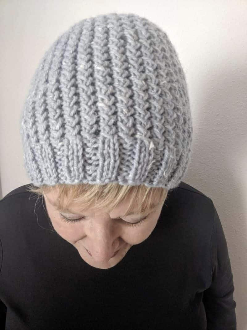 crossed over rib knitted hat
