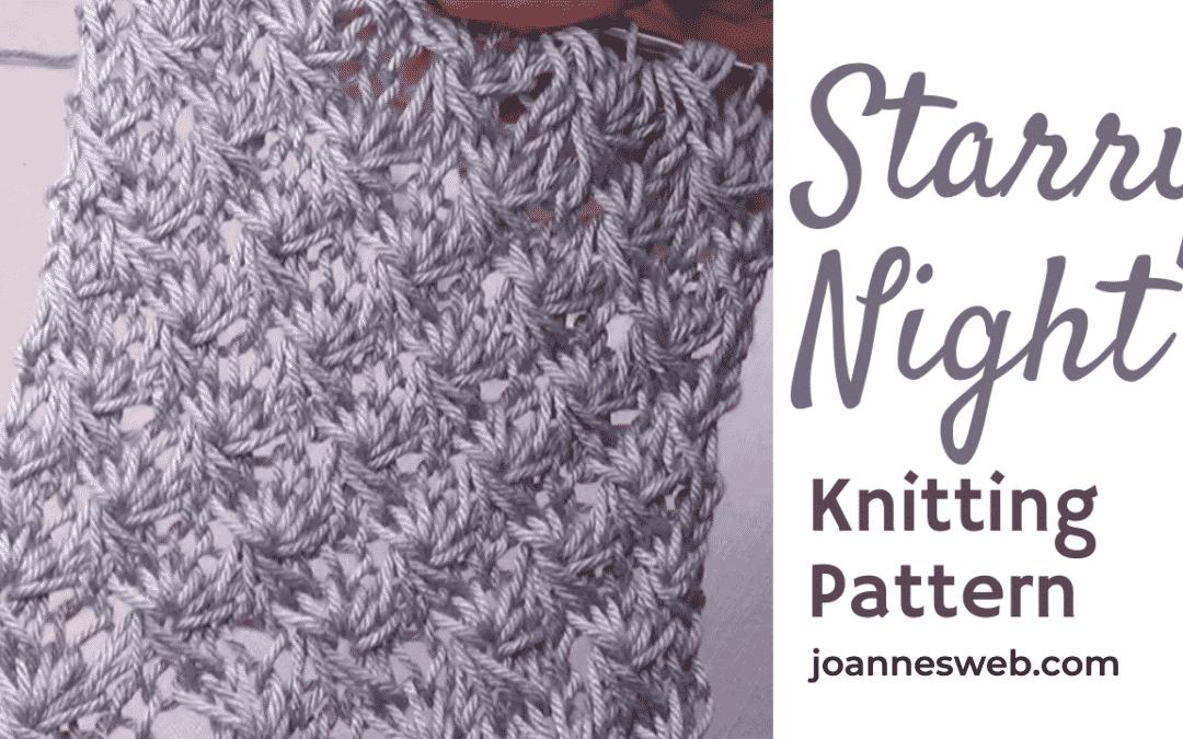 The Starry Night Knitting Stitch Pattern -Star Lace Knitting Pattern